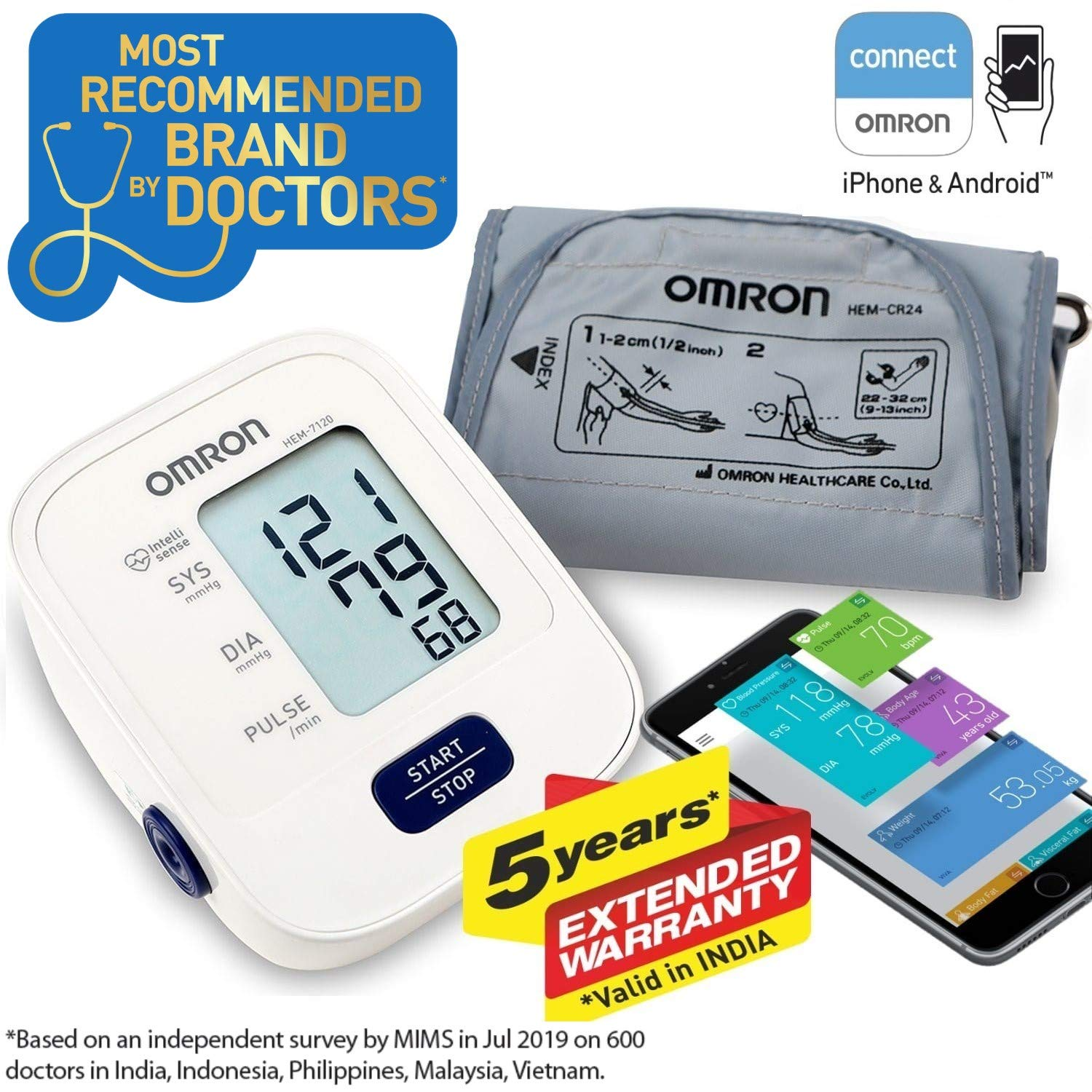 Omron HEM 7120 Upper Arm Automatic Blood Pressure Home BP Monitor Bp Machine Hem 7120