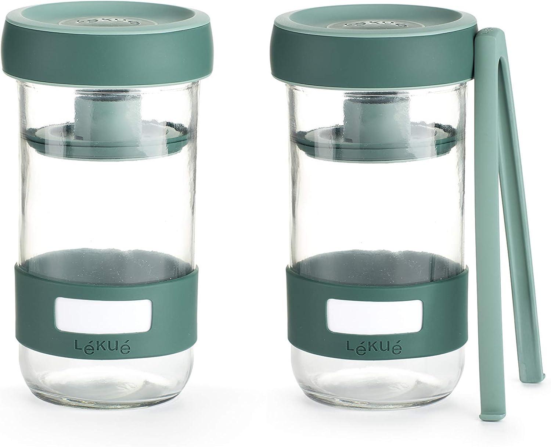Lékué Kit de Utensilios para Preparar encurtidos caseros con Recipiente de Capacidad 700 ml, Verde, Único