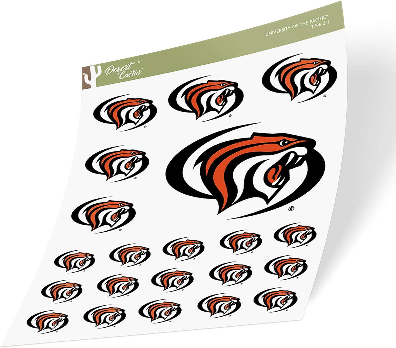 University of The Pacific UOP Tigers NCAA Sticker Vinyl Decal Laptop Water Bottle Car Scrapbook (Sheet Type 3-1)