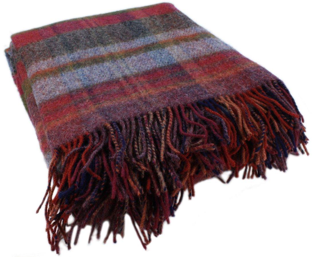 Irish Knit Blanket Burgundy Plaid 54'' x 72'' John Hanly Made in Ireland