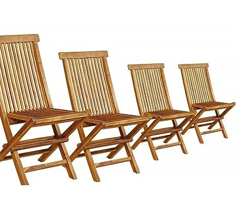 Wood-en-Stock - Juego de 4 sillas plegables, teca, barnizada ...