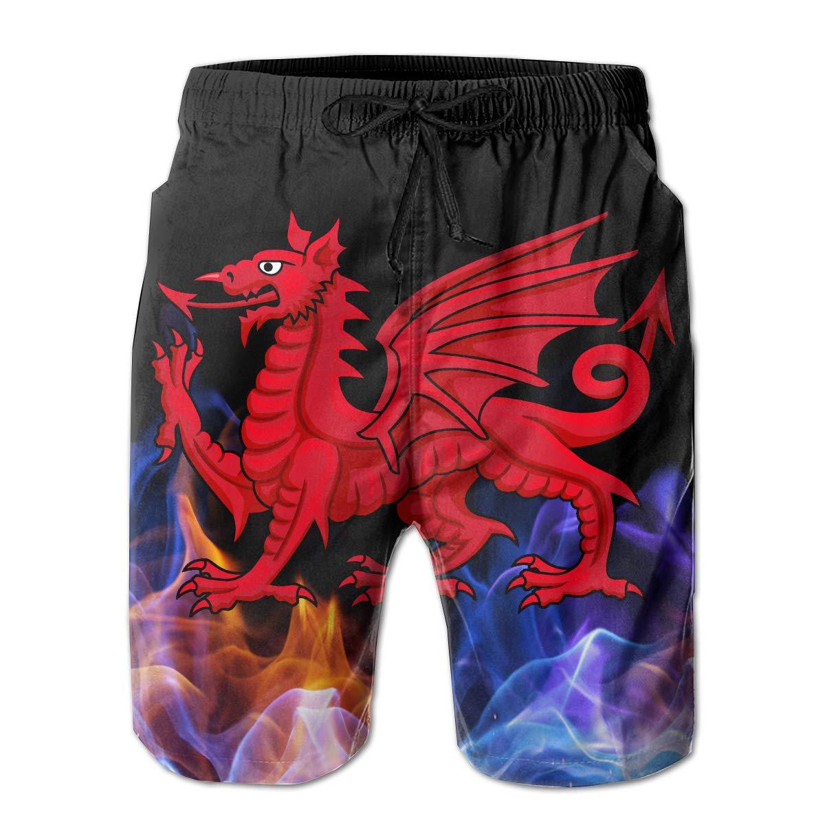 Welsh Dragon Mens Board Shorts Beach Swim Shorts Casual Classic Fit Trunks