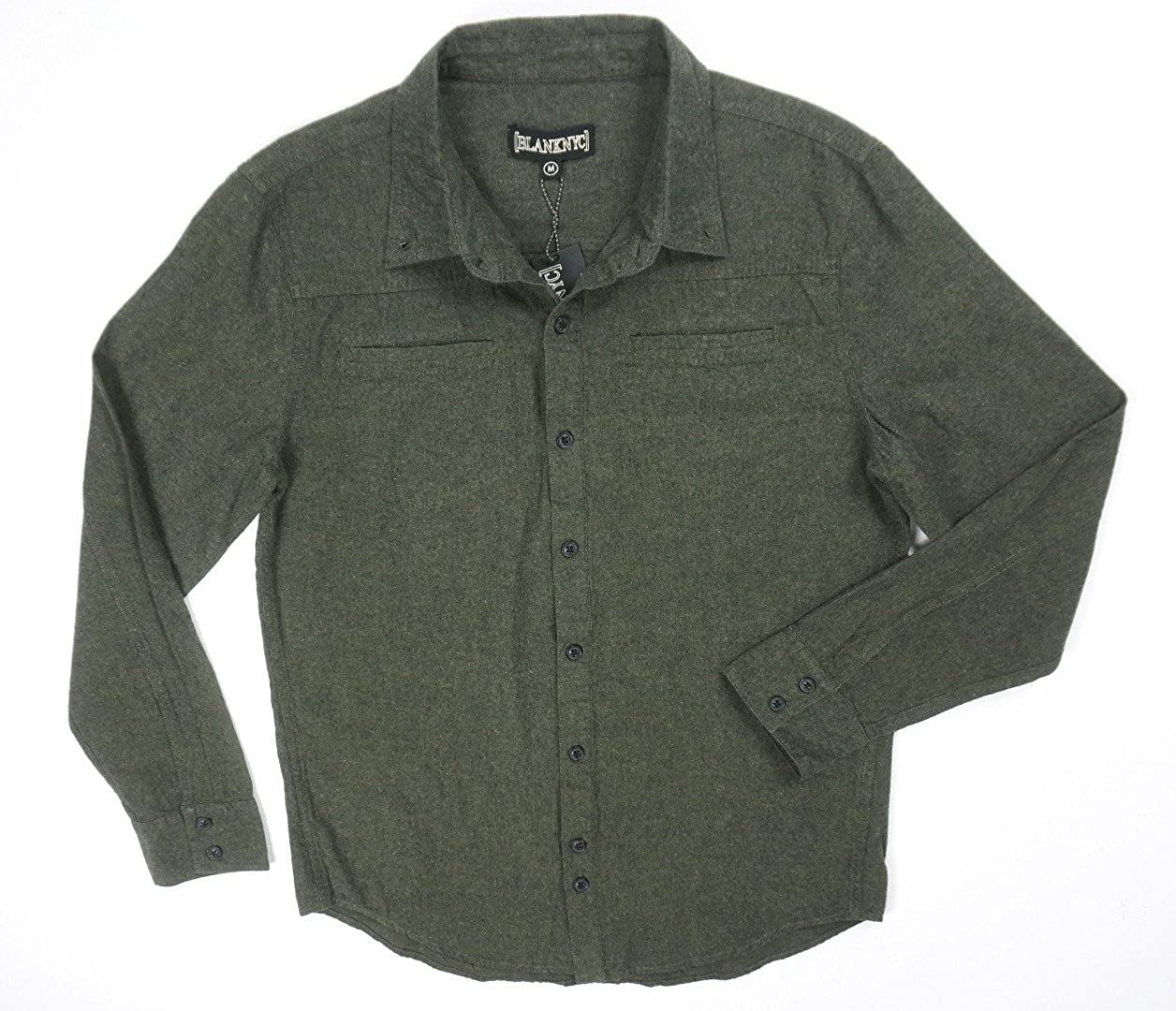 BLANKNYC New DK Green Supermodel Magnet Double Pocket Casual Dress Shirt Size L