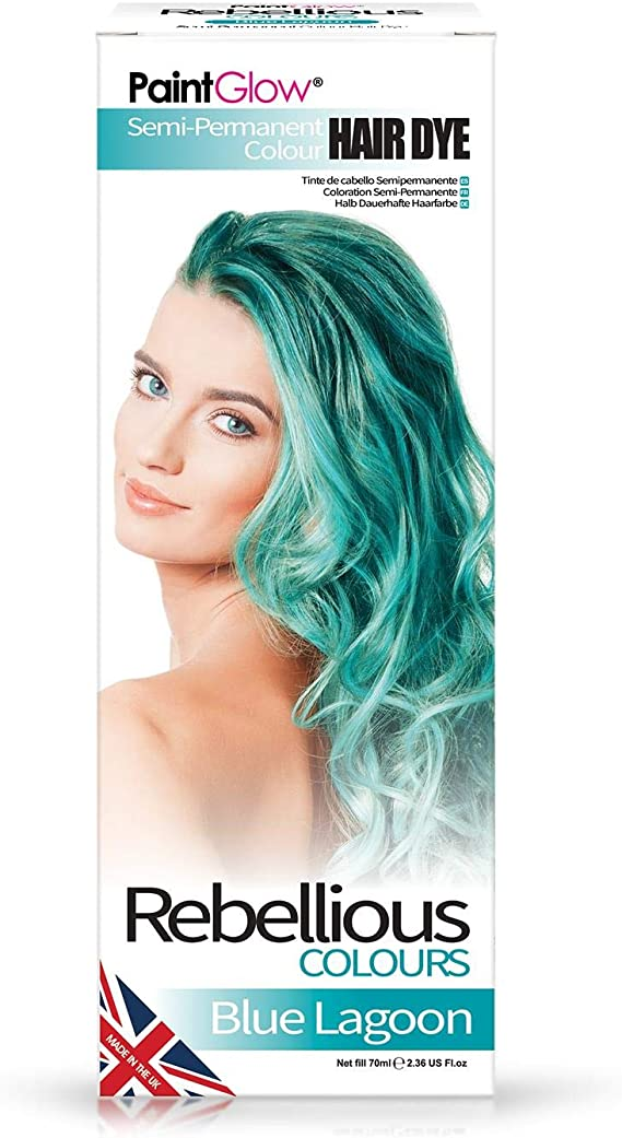 Paintglow - Rebellious Colours - Tinte de Pelo Semi-Permanente, Color Azul Lago, 70 ml - 1 unidad