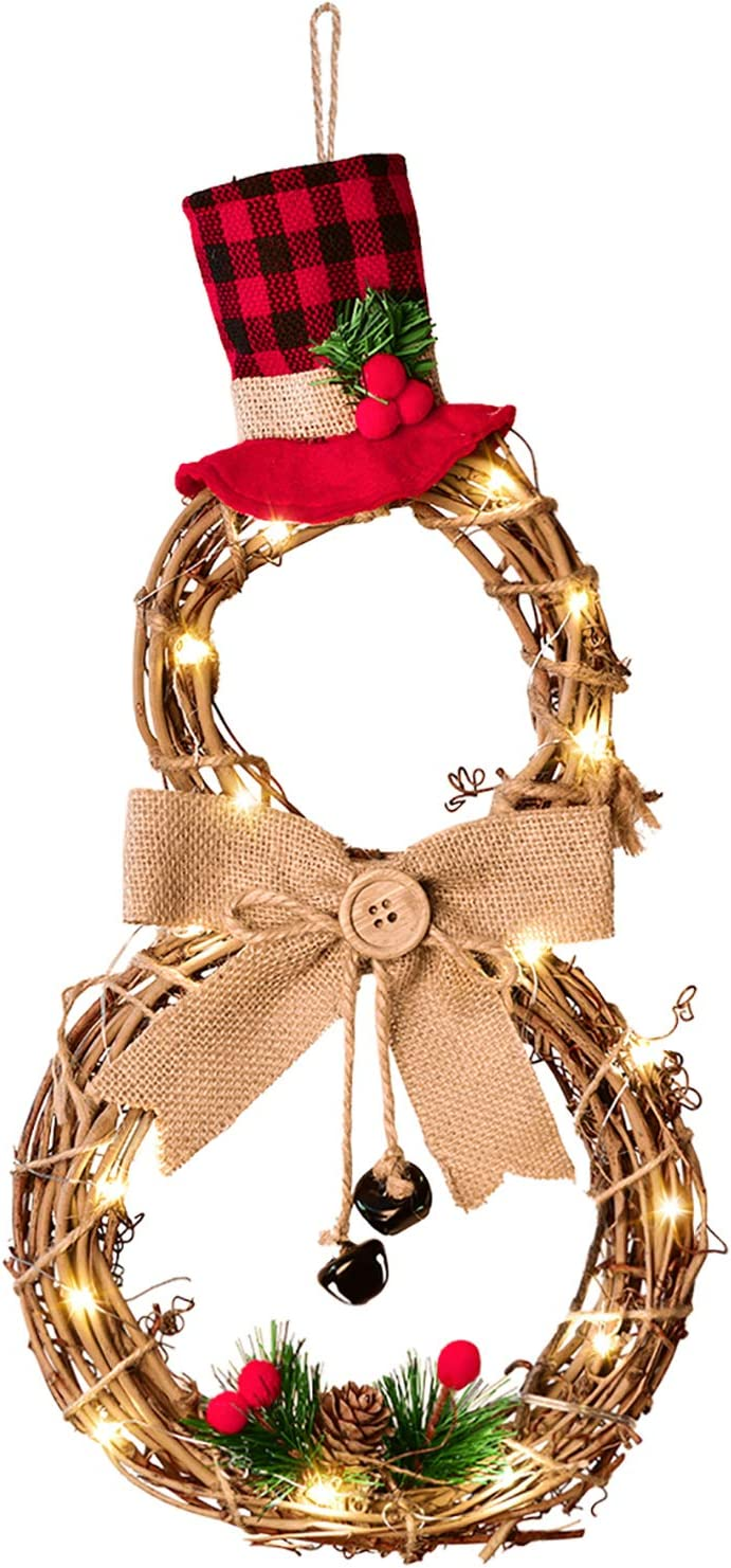 DearHouse 16 x 8 Inch Lighted Christmas Wreath Decoration, Grapevine Wreath with Hat and Bow Snowman Shape Wreath for Front Door Home Garden Wall Decor