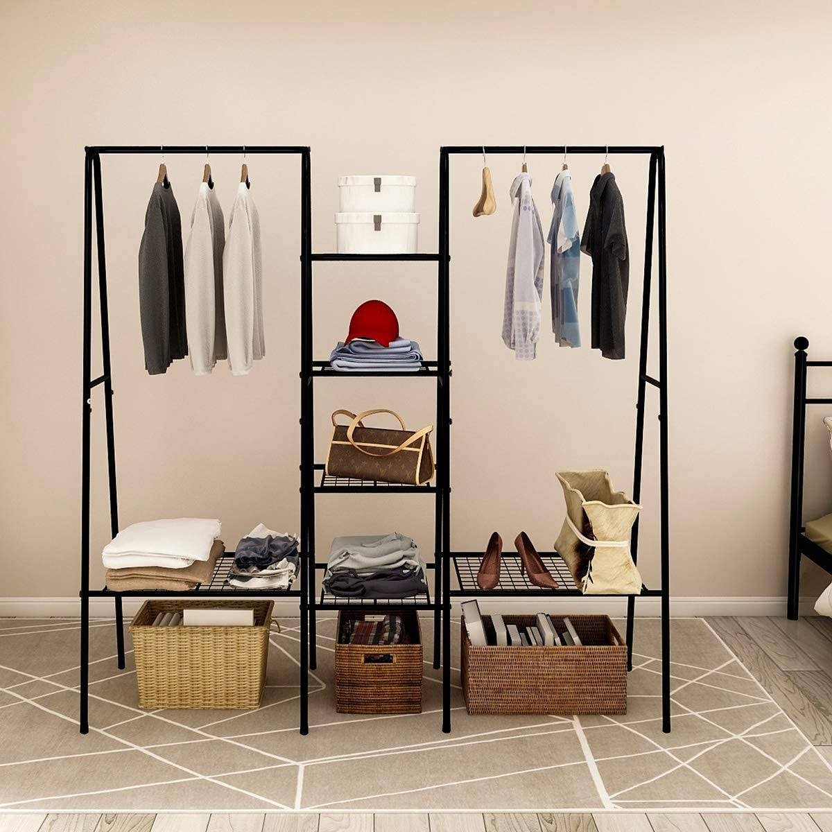Freestanding Garment Rack for Extra Storage /& No Tool Assembly Office or Home Perfect for Your Bedroom 1 Hanging Rod /& Bottom Storage Type A Portable Clothes Rack Silver