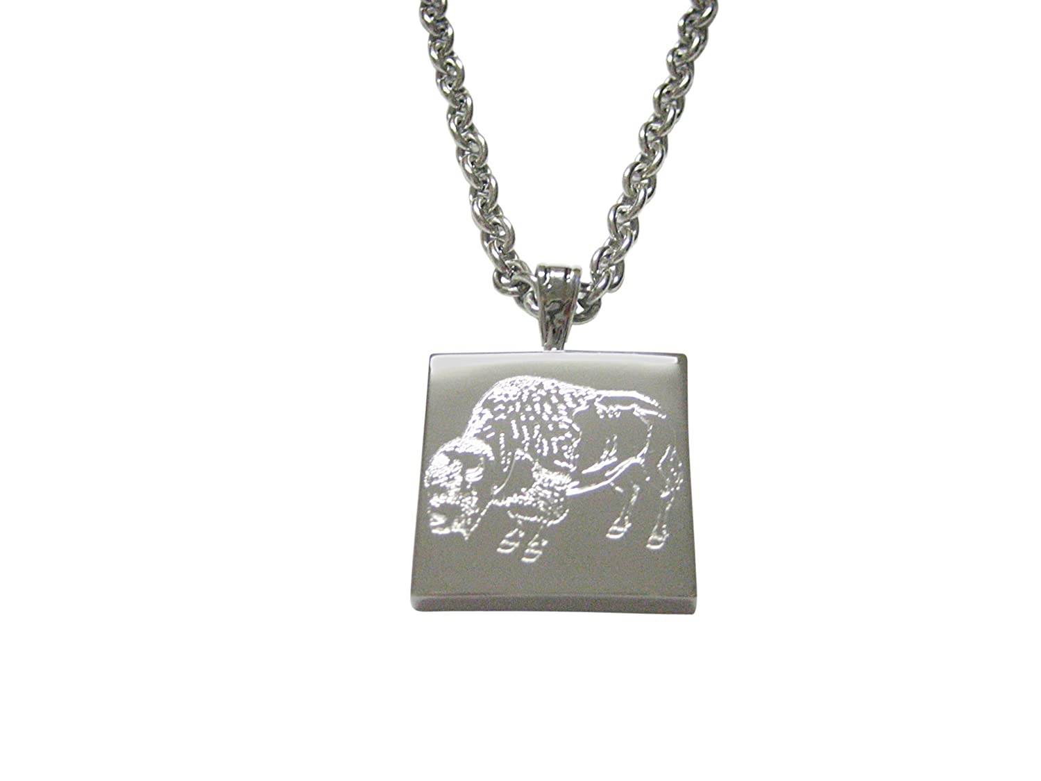 Silver Toned Etched Buffalo Pendants Necklace