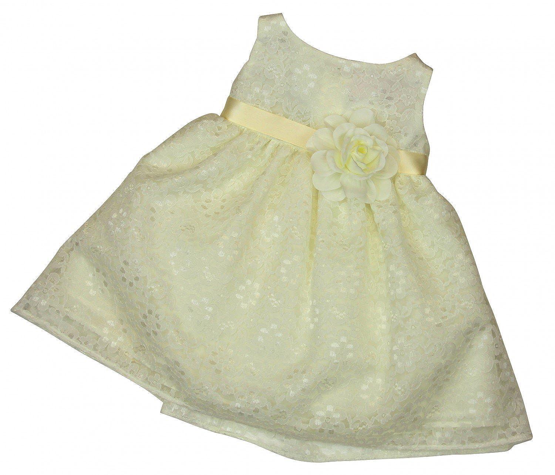 BIMARO Baby Mädchen Taufkleid Nelly Creme Beige Babykleid Kleid Spitzenkleid Blumen Taufe Hochzeit Festlich Festkleid Spitze