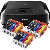 Canon Pixma MG5750 MG-5750 All-in-One Farbtintenstrahl-Multifunktionsgerät (Drucker, Scanner, Kopierer, USB, WLAN, Apple AirPrint) schwarz + 15er Set IC-Office XL Tintenpatronen 570XL 571XL