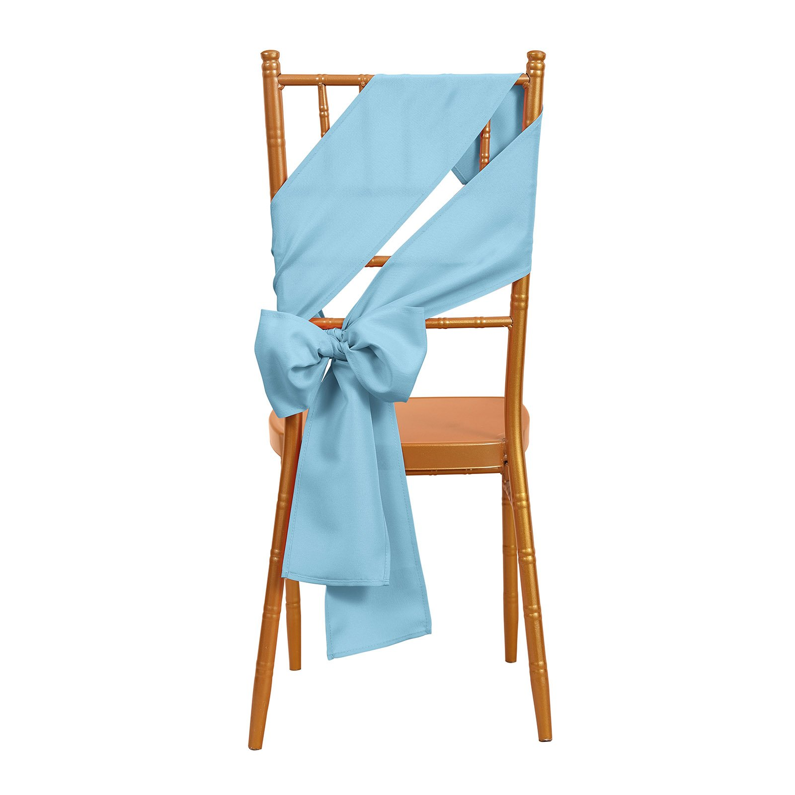 VEEYOO 10 Pieces 6x108 inch Polyester Chair Sash Bows Ribbon Cover for Restaurant Kitchen Dining Wedding Party, Baby Blue