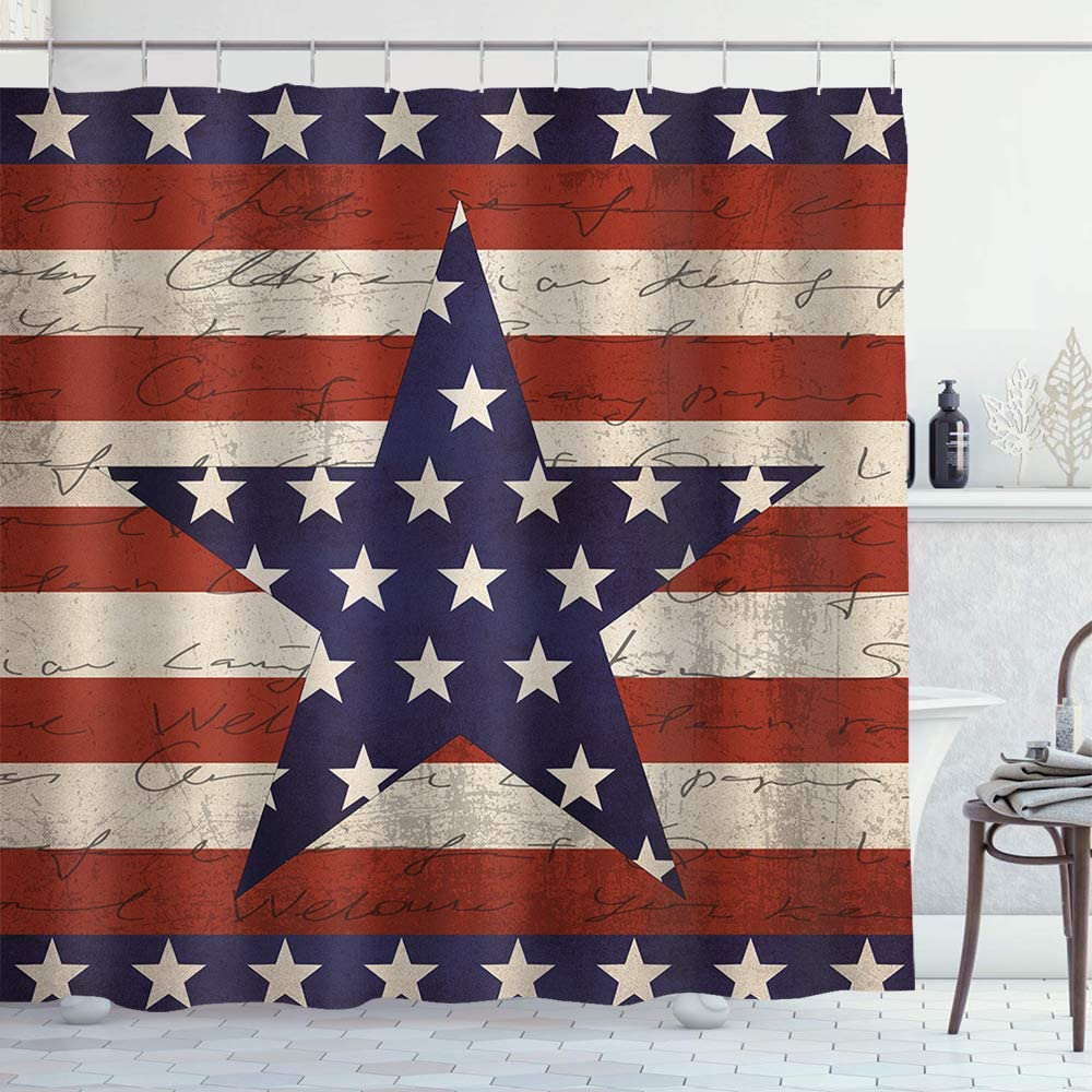 Irongarden American Flag Shower Curtain Fourth of July Independence Day Rustic Wood Print Fabric Shower Curtain Bath Decor 72
