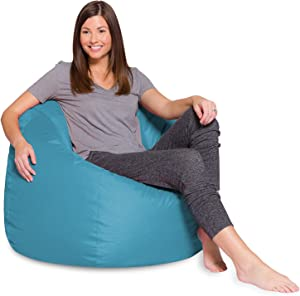 Big Comfy Bean Bag Chair: Posh Large Beanbag Chairs with Removable Cover for Kids, Teens and Adults - Polyester Cloth Puff Sack Lounger Furniture for All Ages - 35 Inch - Heather Teal
