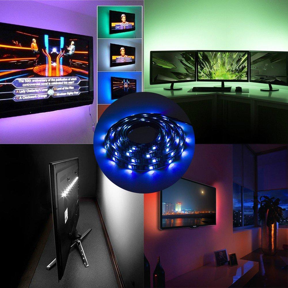 Striscia LED RGB impermeabile, 2M 30leds / m Nero PCB DC 5V 5050 USB ...