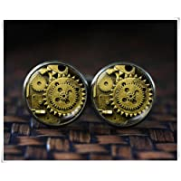 no see long time Steampunk Cufflinks, Steampunk Accessories, Geek Cufflinks,Dome Glass Jewelry, Pure Handmade