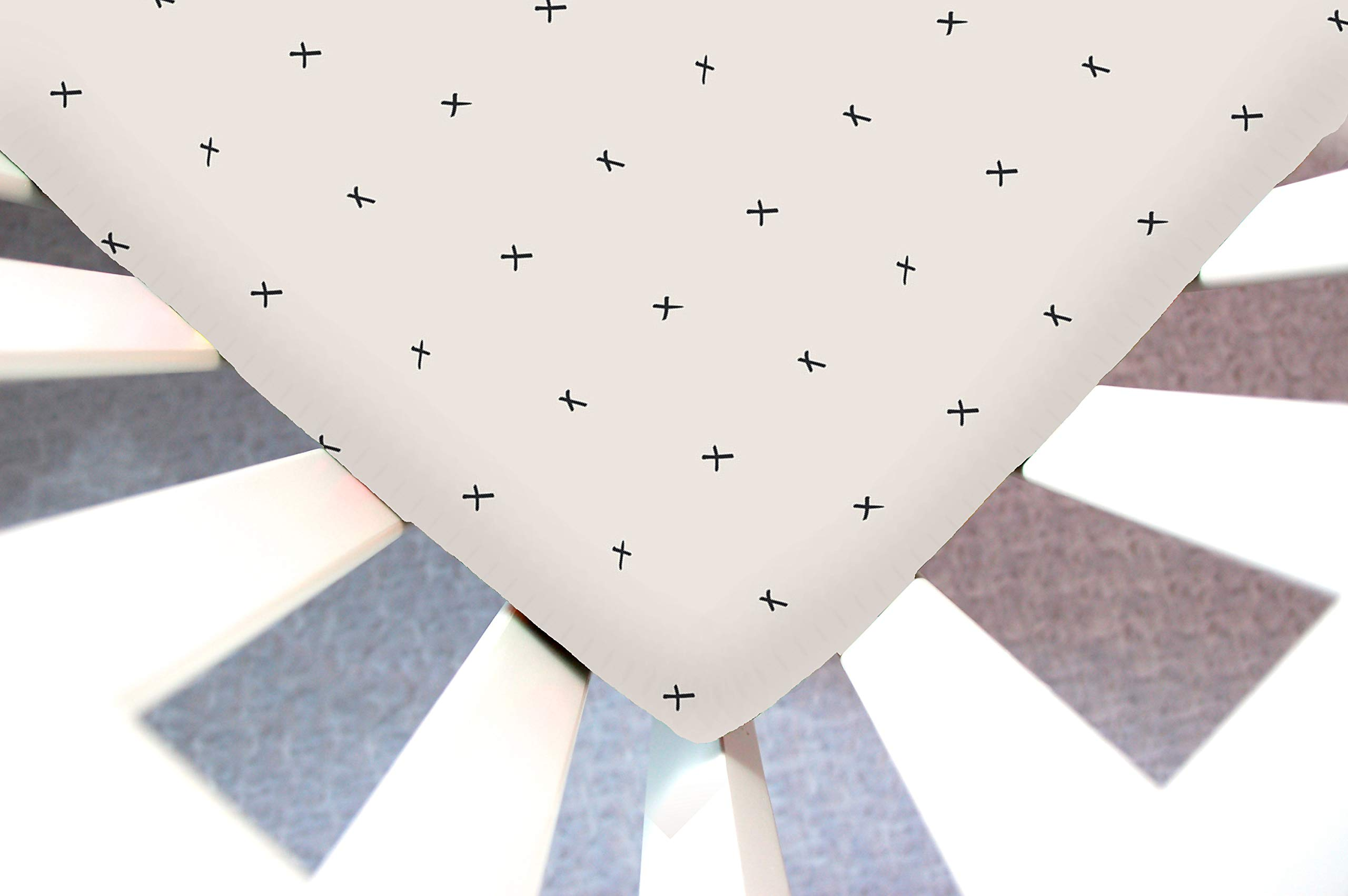 Little Moose by Liza Handmade Sheet Made to Fit 4Moms Bassinet Classic, Plus, or Go in Marked Sights (Cream Black Cross). This Sheet was Not Created or Sold by 4Moms by Little Moose By Liza LLC