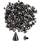 100pcs Cone Spikes Screwback Studs DIY Craft Cool Rivets Punk Stud Hex Cone Style 7x9mm 1//4x3//8 Flashing Golden