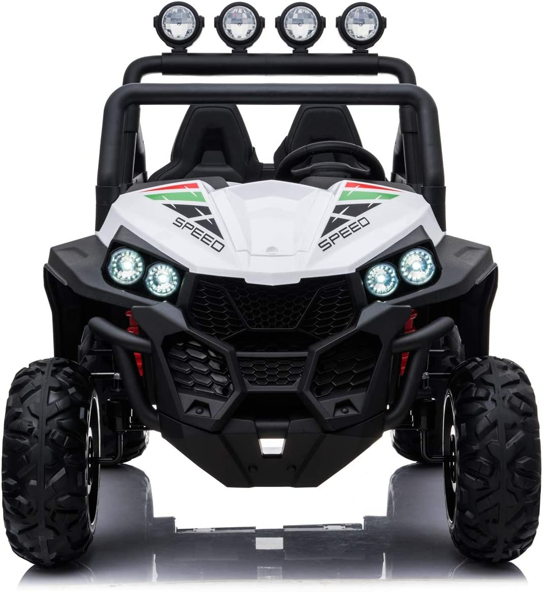 Tecnobike Shop Auto Macchina Elettrica per Bambini 24V 2 Posti Reali Polar Full Optional Ruote con battistrada Centrale in Gomma Mp3 Luci LED Suoni Blu