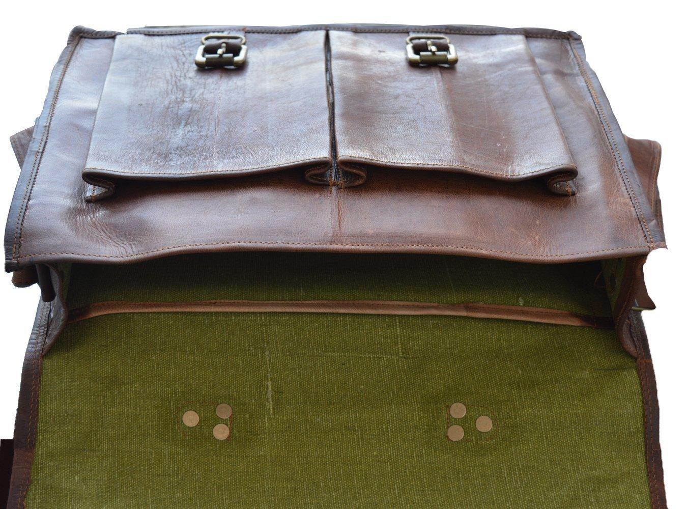 Vintage Handmade Leather Messenger Bag for Laptop Briefcase Best Computer Satchel School distressed Bag (18 INCH) by jsm (Image #2)
