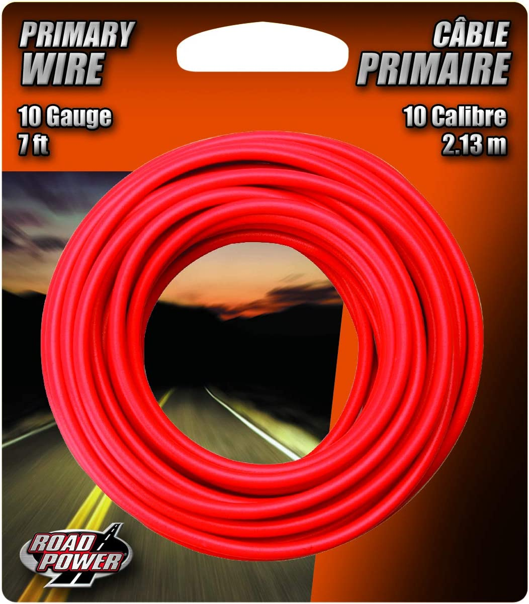 Road Power 55672133 10-Gauge 7-Foot Automotive Copper Wire, Red