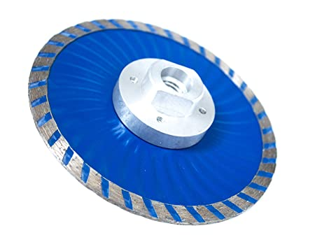 MAX-CRAFT 2 Pcs Diameter 4 5 Inch Cold-Pressed Continuous Diamond Saw  Blades Turbo Wave with Flange Diamond Cutting Disc  For Stone Concrete  Brick