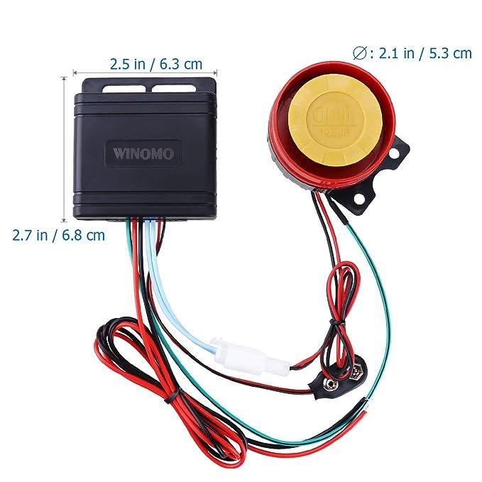 WINOMO motocicleta sistema de alarma antirrobo sistema de seguridad con doble mando a distancia 12 V Universal: Amazon.es: Coche y moto