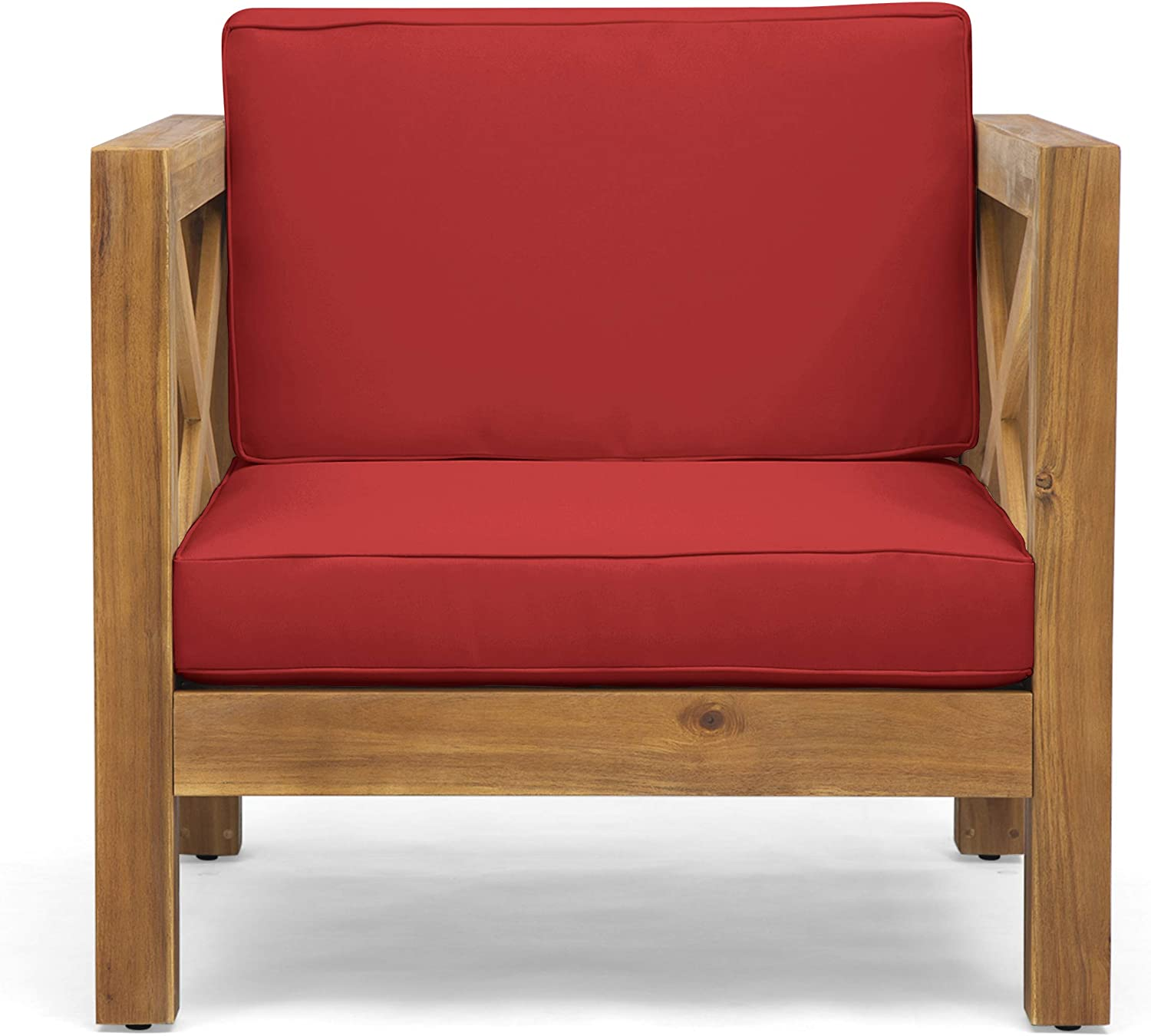 Great Deal Furniture Indira Outdoor Acacia Wood Club Chair With Cushion Teak Finish And Red Garden Outdoor