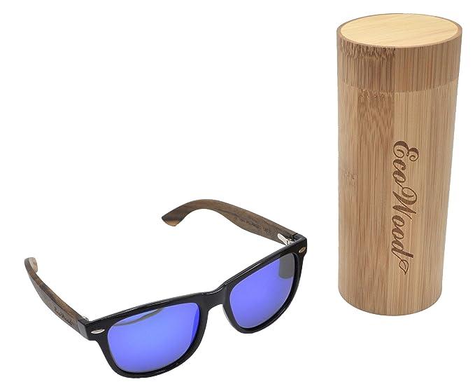 c6c0ca25342 ECOWOOD Wayfarer Ebony Wood Sunglasses with Blue REVO Polarized Lenses