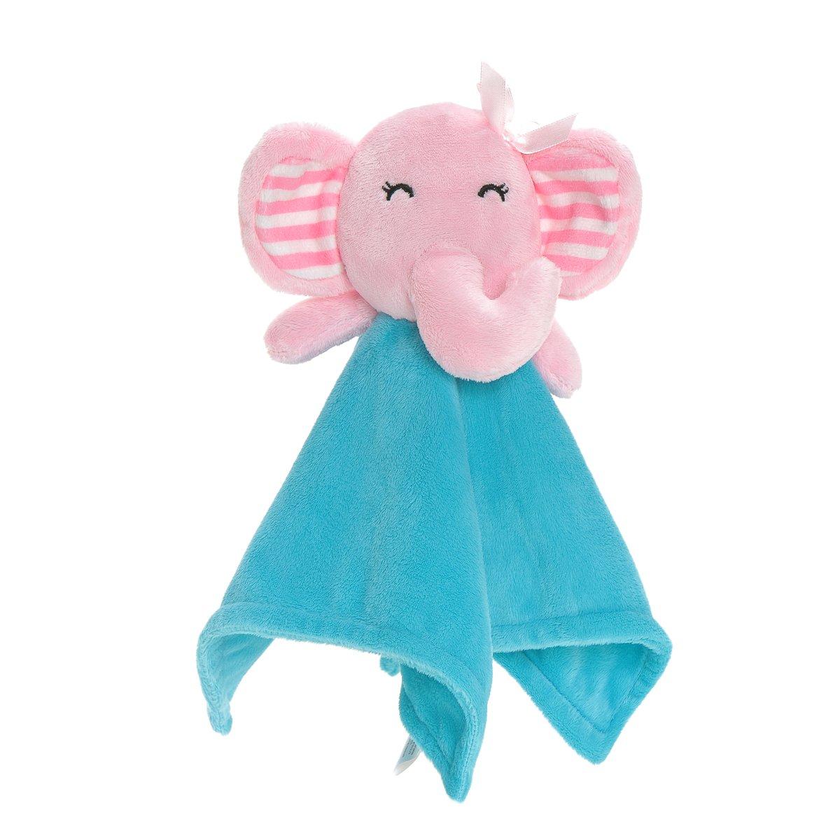 Soft Baby Security Blanket Toys-Wingingkids Baby Toys Bedtime Comforters Security Blankets Toy Pink Elephant