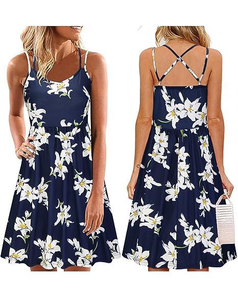 92a7b99372f32 ULTRANICE Women's Summer Floral Sleeveless Adjustable Spaghetti Backless  Short Dress