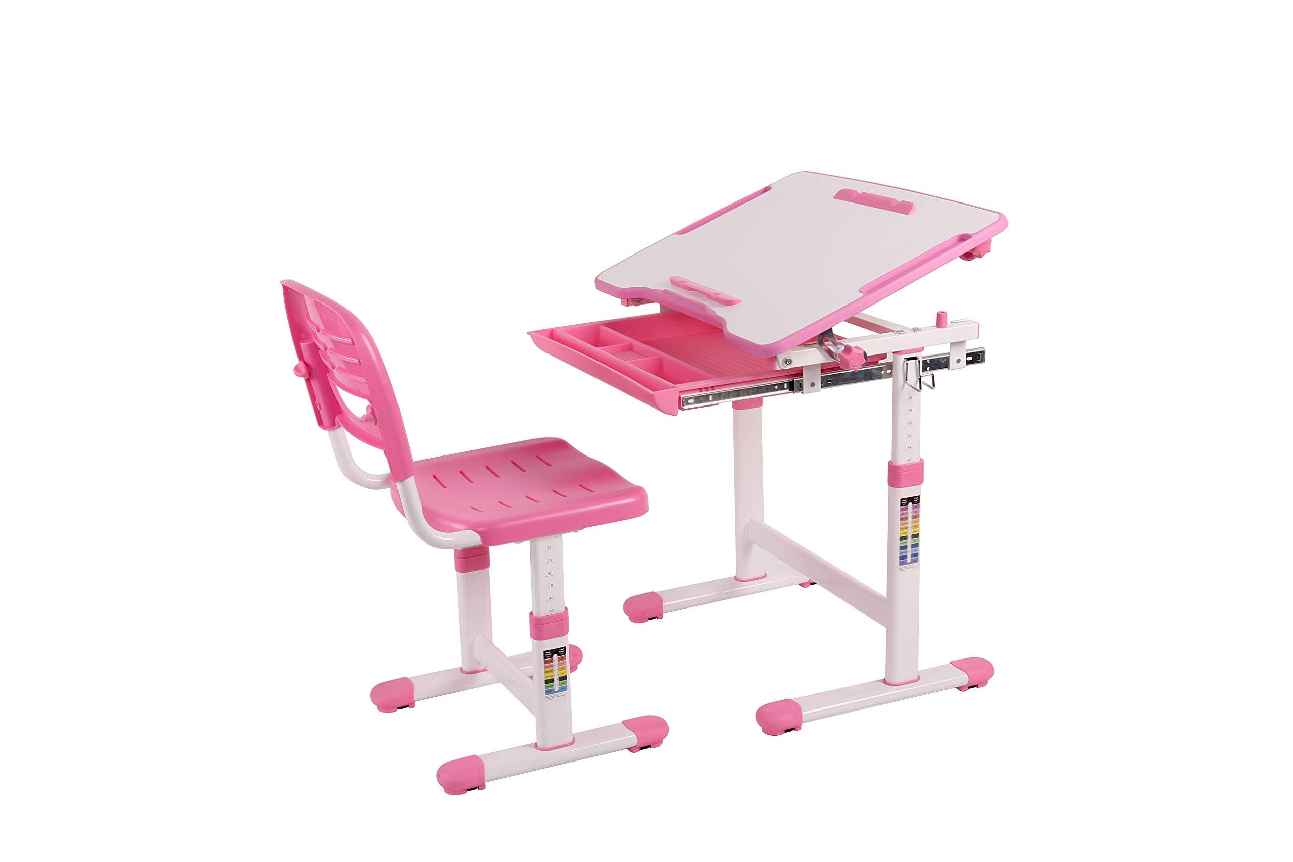 Wymo Kids Ergonomic Adjustable Childrens Desk & Chair With Drawing Paper Roll (Pink) by Wymo Kidz