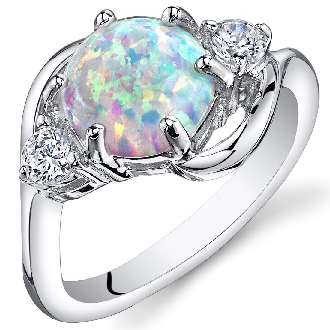Peora Created White Opal Ring in Sterling Silver, Round Shape, 8mm, 1.75 Carats total, Size 7 by Peora
