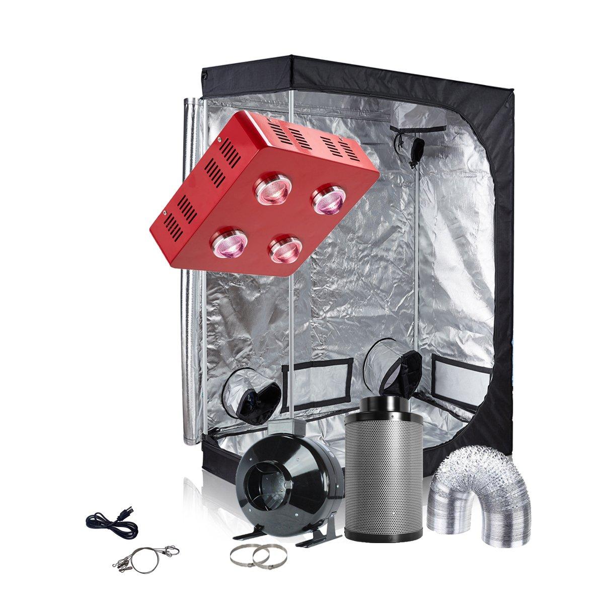 TopoGrow LED Grow Tent Complete Kit LED 800W COB LED Grow Light Kit +60''X32''X80'' Indoor Grow Tent + 6'' Fan&Filter&Ducting Combo Hydroponics Tent System (LED 800W COB, 60''X32''X80''+6'')