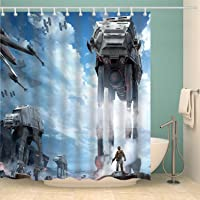 Youni Star Galaxy War Space Shower Curtain Blue Sky Stormtroopers Shower Curtain Panel 72x72 Inch Polyester Waterproof…