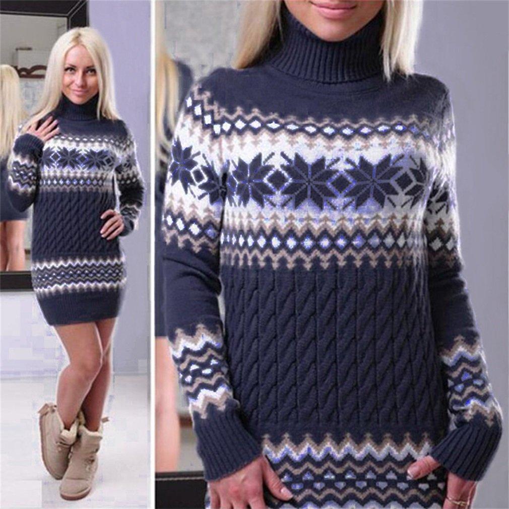 LnLyin Womens Long Knitted Jumpers For Women Ladies Sweater Knitwear Knit Long Sleeve Longline Jumper Dress Casual Sweaters Warm Loose Jumpers Autumn Winter, Royal blue, S