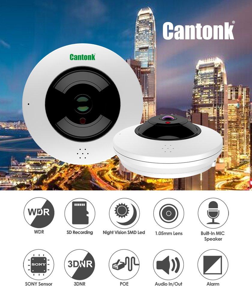 Cantonk IPDE20H600 - Panoramic 360° fisheye camera, Ultra HD (4 6  Megapixel), Sony Starvis sensor, Wi-Fi + PoE, MicroSD slot, H 265, H 264,  ONVIF
