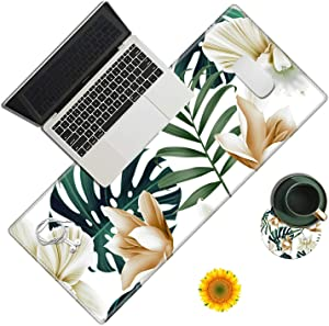 Desk Pad,Magnolia Flower Palm Laptop Desk Mat,Long Large Gaming Mouse Pad with Stitched Edges Non-Slip Writing Mat Desk Blotter Protector for Office Home (with Coaster & Sunflower Sticker)