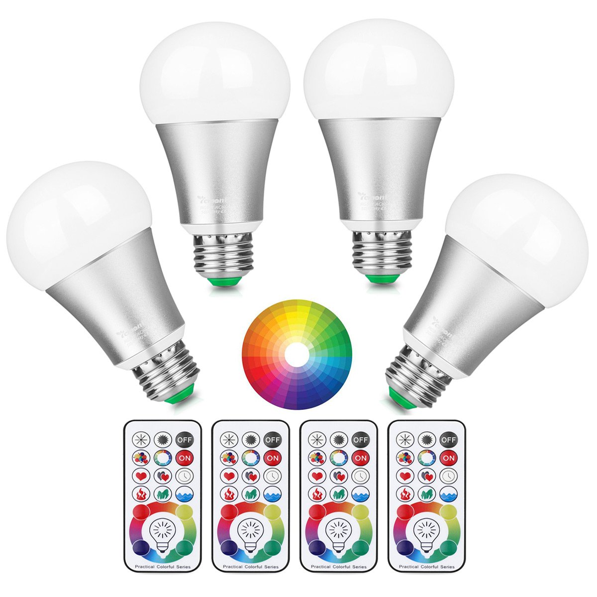 [Updated] Lemonbest 10W E27 Led Colour Changing Light Bulb with Remote Control, 120 Different Colour Choices, RGB+Daylight(6500K) Dimmable, Timming, Dual Memory DIY Collection Function, Pack of 4X ONEVER