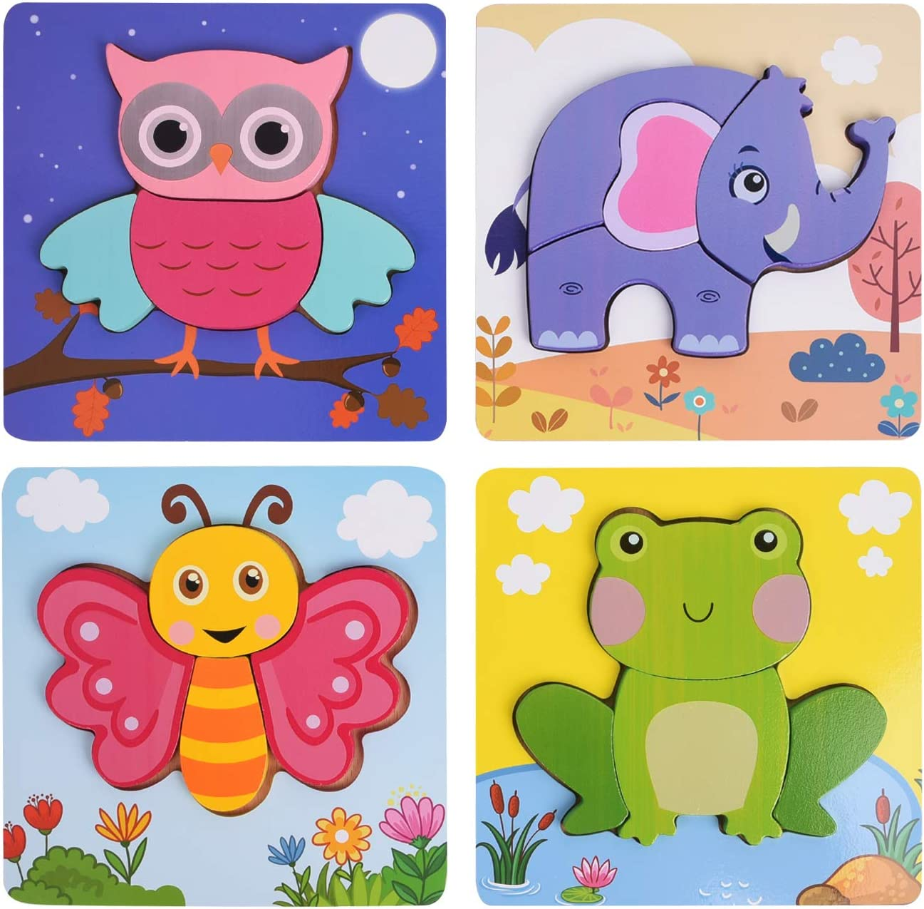Wooden Jigsaw Puzzles for Toddlers, XREXS Bright Color Animal Shapes Puzzles, Educational Learning Toys Gift for 1 2 3 Years Old Babies Boys Girls 4 Packs