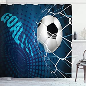 """Ambesonne Soccer Shower Curtain, Goal Football Flying into Net Abstract Dots Pattern Background European Sport, Cloth Fabric Bathroom Decor Set with Hooks, 70"""" Long, Blue Black"""