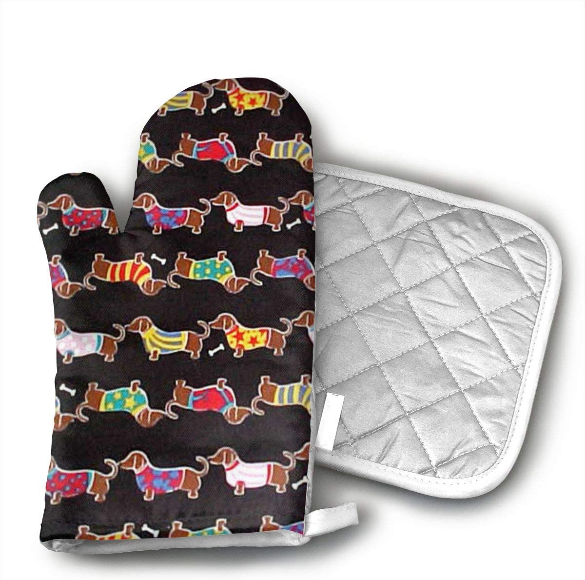 Teuwia Colored Wiener Dog Oven Mitts and Pot Holders Baking Oven Gloves Hot Pads Set Heat Resistant for Finger Hand Wrist Protection