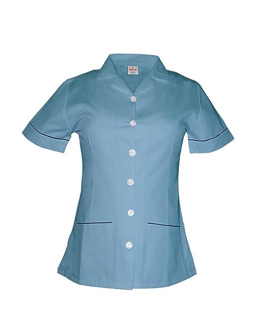 Medco enfermeras uniforme – enfermeras uniforme Túnica Revere cuello con ribete de color azul marino –