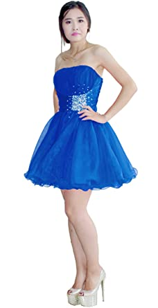Faironly M5666 Girls Short Prom Dress (XS, Blue)