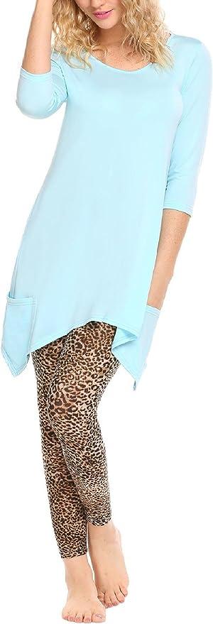 TALLA M. Avidlove Mujer Camisón Ropa Interior en Casa Conjunto Camiseta y Legging Manga 3/4 Estampado de Leopardo