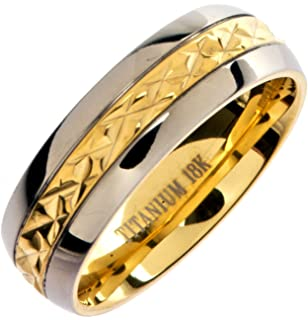 8MM Mens Titanium Gold Plated Ring Wedding Band with Flat Brushed