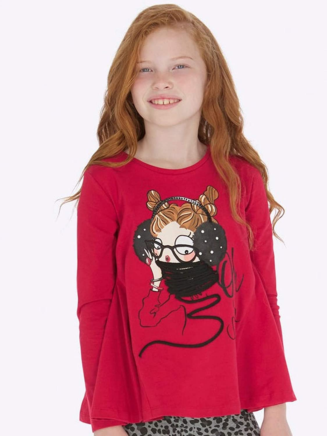 Mayoral Red L//s t-Shirt with Print for Girls 7020