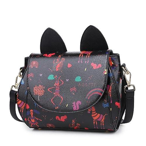 Otomoll La Mujer De Cuero Pu Caricatura Gato Negro Moda Bolso Tote Mobile Bolsa Cuerpo Transversal: Amazon.es: Zapatos y complementos