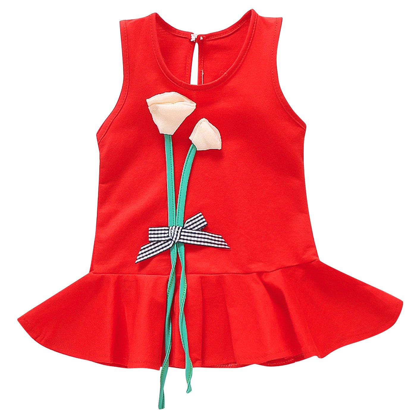 Baby Girls Cotton Dress UV Protection Tulip Bowknot Midi Summer Dress Red 3T