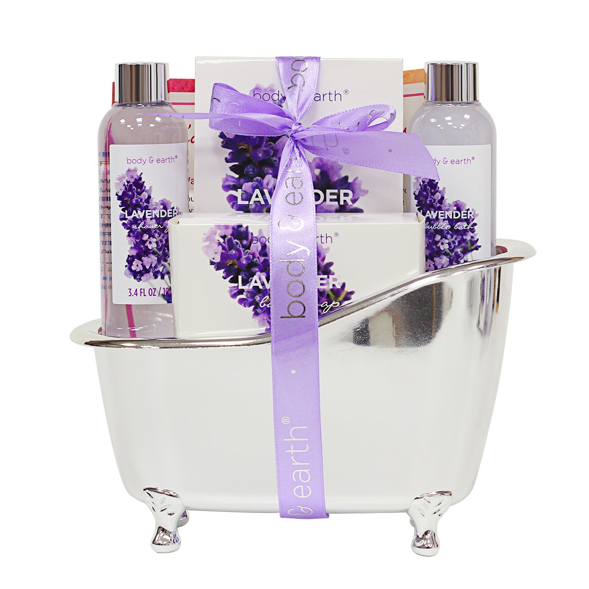 Bath Spa Gift Basket for Women, Body & Earth Lavender Scented 4 Pcs Home Spa Gift Kit with Shower Gel, Bubble Bath, Bath Salts and Bath Soap, Best Gift for Her by BODY & EARTH