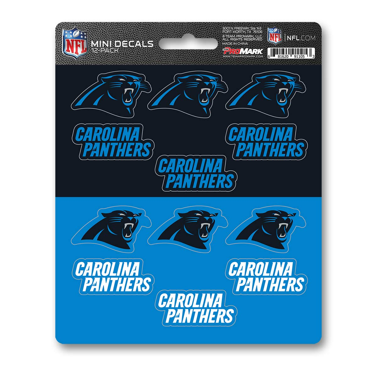One Size NFL Carolina Panthers DecalDecal Set Mini 12 Pack Team Colors