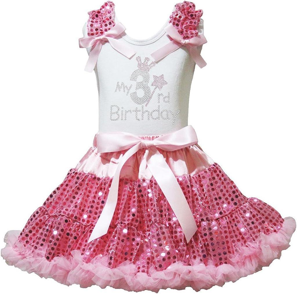 Petitebelle Tercer cumpleaños Camiseta de Vestido de Color Rosa ...